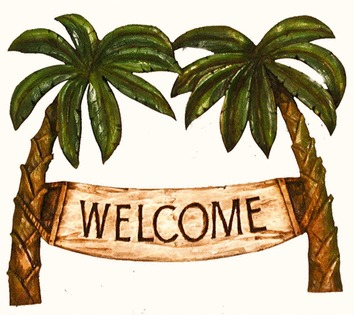 Tile palm tree decor welcome tropical sign 4